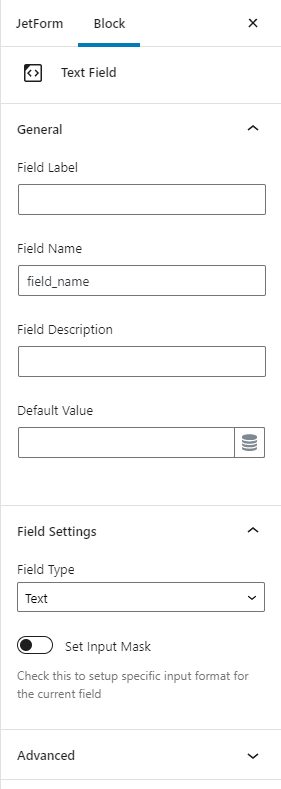JetFormBuilder- text-field-settings